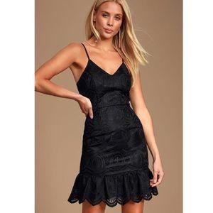 LULU'S Shura Black Embroidered Lace Dress Size M